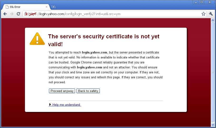 Invalid security cert warning